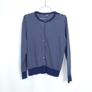 Lands End Stripe Cotton Cardigan Sweater